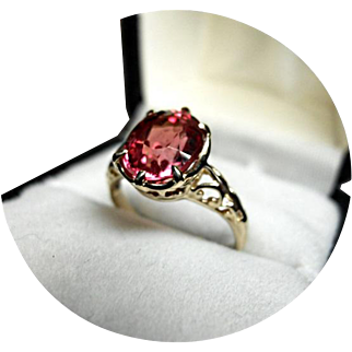 14k Ring w/ Raspberry Padparadscha Sapphire - 2.30CT - Natural Gem - 14K Yellow Gold