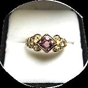 PINK Sapphire & Diamond Engagement Ring - Vintage 14K Yellow Gold Setting