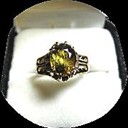 14k Ring - Ambilobe, Sphene, Titanite Gem - 2.69CT Cushion Cut - Vintage - Yellow Gold