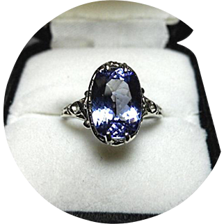 Lovely Blue TANZANITE Ring - 3.10CT - Natural Gem - Filigree 14k White Gold