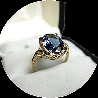 Blue TANZANITE 3.10CT Ring - Art Deco - Vintage 14k Yellow Gold Filigree