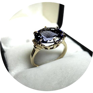 14k Ring - TANZANITE, 3.63CT - Quality Bright Blue - Natural Earth Gem - White Filigree
