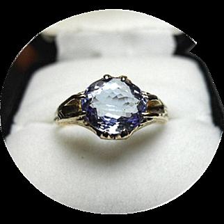 TANZANITE, Light Blue Ring - 2.33CT - Natural Earth Gem - 14K Yellow Gold