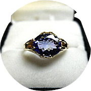 Bright Blue TANZANITE Ring - 2.26CT - Natural Gem - Carved 14K Yellow Gold