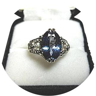 Blue TANZANITE Ring - 3.82 CT - Vintage Sculpted 14K White Gold Ring