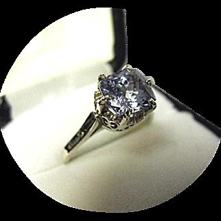 Nice! - TANZANITE Ring - 2.34ct Cushion Cut - Vintage 14K White Gold