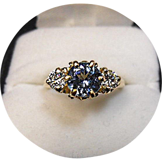 TANZANITE & Diamond Engagement Ring - 1.18ct - Vintage 14k Yellow Gold