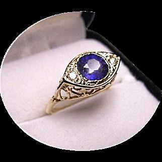 Blue TANZANITE - Diamond Engagement Ring - Art Deco - Filigree 14K Yellow Gold