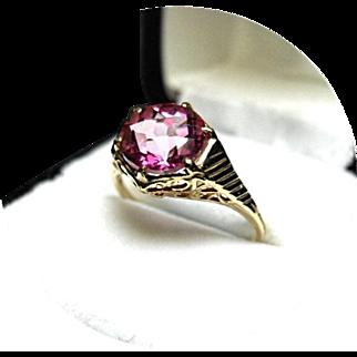 HOT Pink TOPAZ Ring - 2.10 Carat - Vintage 14k Yellow Gold Filigree Mounting