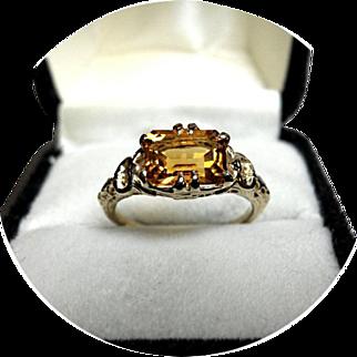 14k Ring - Natural Imperial Golden TOPAZ - 1.40CT - Vintage 14k Yellow Gold