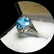 'SWISS' Blue TOPAZ Ring - 4.02 Carat - 14k White Gold Filigree - Vintage