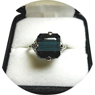 Tourmaline INDICOLITE Ring - Blue-Green 6.77 CT - Earth Gem - Vintage 14K White Gold