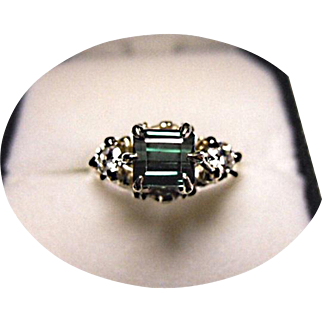 Tourmaline - Diamond Ring - 'Indicolite' - Blue-Green - 18k White Gold Tiffany Prongs