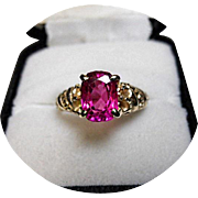 14k Hot Pink-Rose Red TOURMALINE Ring - Vintage Sculpted Yellow Gold Mounting