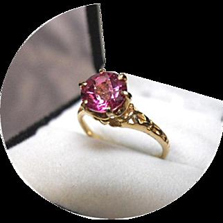 'HOT Pink' Tourmaline Ring - Tiffany Style Prongs - Vintage Filigree 14K Yellow Gold