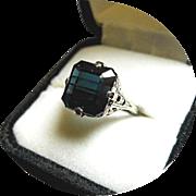 Tourmaline INDICOLITE Ring - Blue-Green 6.77 CT - Earth Gem - Vintage 14K White Gold