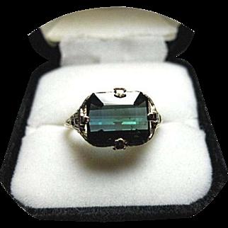 Tourmaline INDICOLITE Ring - Blue-Green - 4.02 CT, Earth Gem - Vintage Art Deco, Filigree, 14K Yellow Gold.