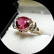HOT Pink Tourmaline Ring - Pear Shape - 2.42ct - Natural Gem -14k Yellow Gold Vintage
