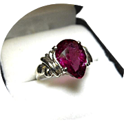 Tourmaline Rubellite Ring - Red-Violet Color - Vintage 14K White Gold Mounting