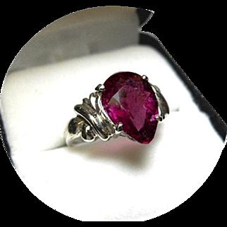 Tourmaline Rubellite Ring - Red-Violet Color - Vintage 14K White Gold Mounting
