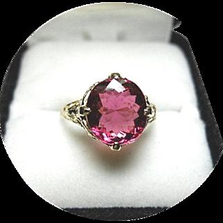 Tourmaline - Rubellite Ring - Violet-Red Color - 14K Yellow Gold Vintage Filigree