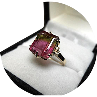 14k Ring - Tri-color Watermelon Tourmaline - 4.30CT - Vintage 14k Yellow Gold Mounting