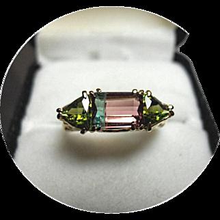 Tourmaline Ring - Bi-color Watermelon w/ Trillions - Natural Gems - 14K Yellow Gold