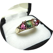 Watermelon Tourmaline & Trillion Ring - (Rosy Red & Green) - Vintage 14K Yellow Gold