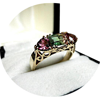 Tourmaline  Tri-Color Watermelon Ring - Pink & Green - Trillion Vintage 14k W. Gold