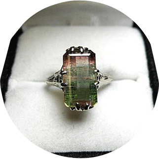 14k Ring - Tri-color Watermelon Tourmaline - 3.75CT - Vintage - White Gold