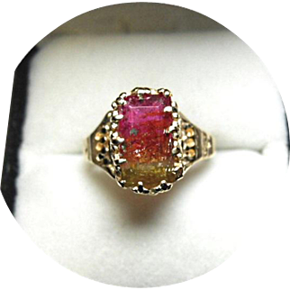 Tourmaline, Watermelon Bi-color Ring - 1.82 CT  - 14k Yellow Gold Multi Prong Mounting