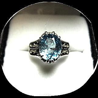 Natural Blue-Green ZIRCON Ring - 3.36 Carat - Vintage 14k Carved White Gold