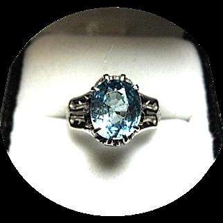 Natural Blue ZIRCON Ring - 3.36 Carat - Vintage 14k Carved White Gold