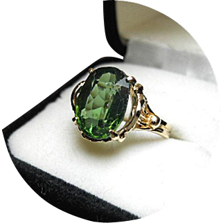 Zircon Ring - Natural Green Earth Gem - 6.19 Carat - Vintage 14k Yellow Gold Filigree