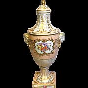 Dresden Urn - Face Handled - Enameled Porcelain with Lid - Dates C1901