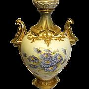 Austria Vase - Robert Hanke - Porcelain Antique Ornate Mold - Red Crown Mark