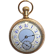 RARE! - Enamel Blue White Dial - 14k Gold Filled - Pocket Watch American Waltham Watch Co. 29S