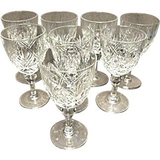 "Thomas Webb - (8) Crystal Water Goblet - Pat. 'ST. ANDREWS' - 6"" Tall"