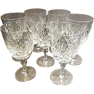 "Thomas Webb - (7) Crystal Wine Goblets - Pat. 'ST. ANDREWS' - 6-1/4"" Tall"