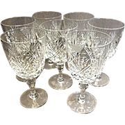 "Thomas Webb - (7) Crystal Wine Goblets - Pat. 'ST. ANDREWS' - 6-1/4"" Tall"