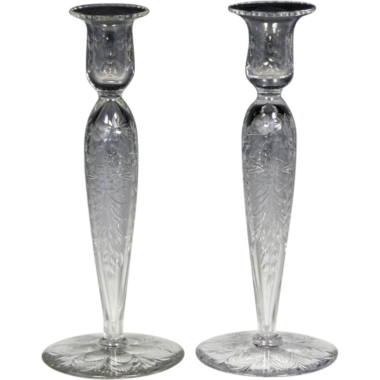 Elegant Pair of Pairpoint Copper Wheel Engraved Glass Candlesticks