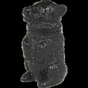 Circa 1860 Sandwich Amethyst Glass Figural Bear Form Pomade Jar