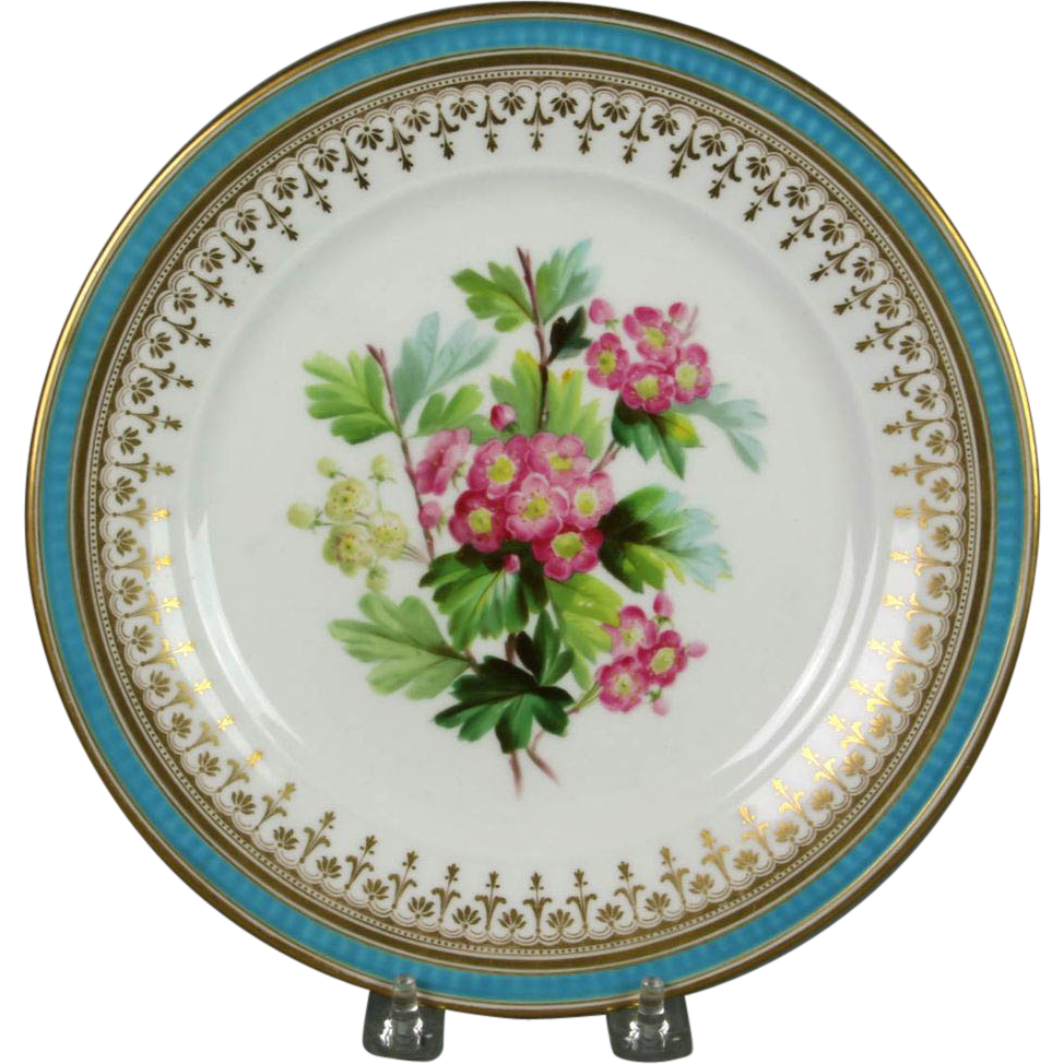 Beautiful Circa 1860 Hand Painted Porcelain Plate By