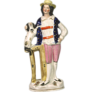 Charming 19th Century Staffordshire Figure of Farmer with Spaniel