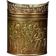 Fine Early 19th Century Dutch Embossed Brass Tea Caddy