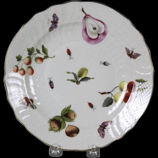 Circa 1920 Herend White Porcelain Plate Market Garden Pattern
