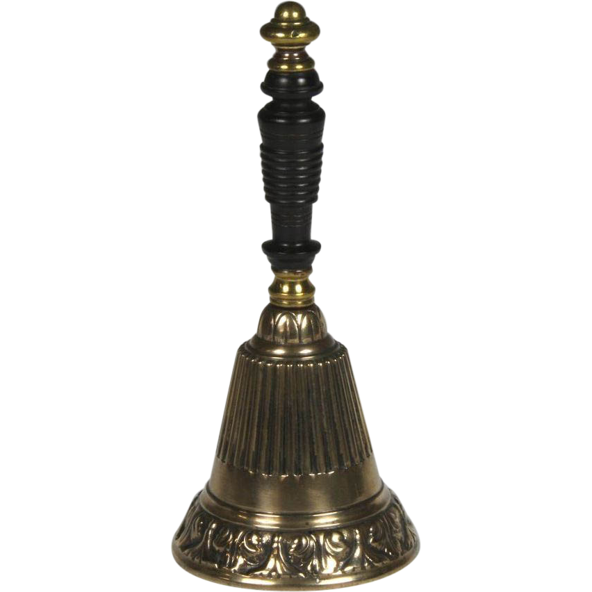 Fine English Cast Brass Bell with Turned Wooden Handle Dated 1861
