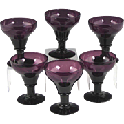 Rare Set of Circa 1820 English Amethyst Glass Rummers in Excellent Condition