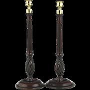 Fantastic Pair of Circa 1780 English Turned Mahogany Candlesticks