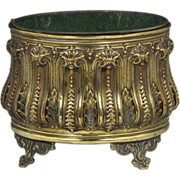 Wonderful Circa 1890 English Embossed Brass Jardiniere